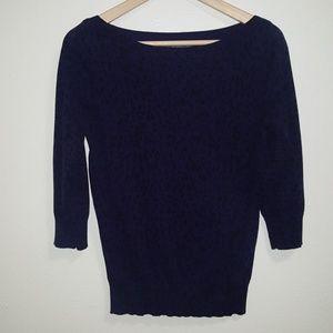 3/4 sleeve leopard print sweater